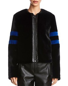 Bailey 44 - Striped-Sleeve Cropped Faux Fur Jacket