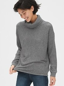 Ribbed Funnel-Neck Pullover Sweater
