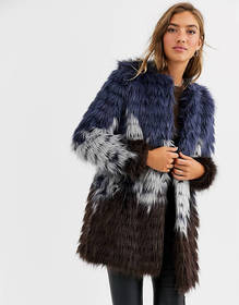 Urbancode faux fur coat in tri color