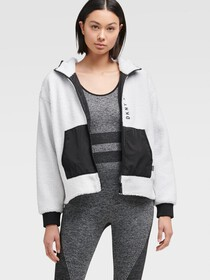 Donna Karan SHERPA FLEECE ZIP-UP JACKET