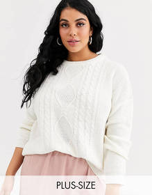 Brave Soul Plus cable sweater in cream