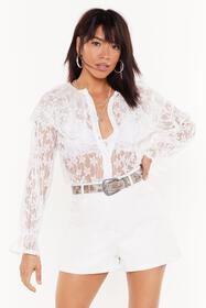 Nasty Gal Womens White Cool Down the Lace Embroide
