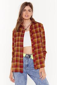 Nasty Gal Womens Red Checked Out of This Conversat