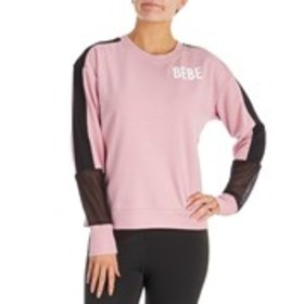 BEBE SPORT Crew Neck Logo Pull Over With Mesh Inse