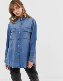 Monki oversized denim shirt in classic blue