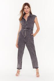 Nasty Gal Womens Grey Wash Out for Me Belted Denim