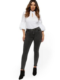 High-Waisted Curvy Super-Skinny Jeans - Dark Grey