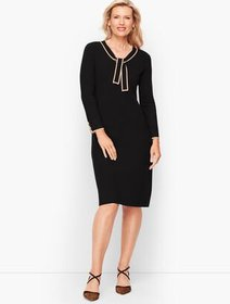 Talbots Tipped Tie Neck Sweater Dress