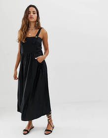 ASOS DESIGN overall midi sundress with pocket deta
