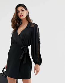 ASOS DESIGN woven mix lace insert shirt dress