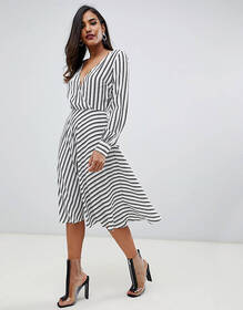 ASOS DESIGN v front v back midi dress in stripe