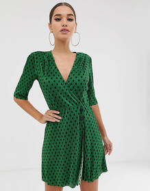 ASOS DESIGN polka dot plisse mini dress with butto