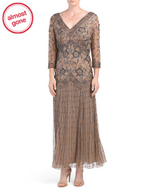 PISARRO NIGHTS Plus All Over Beaded Gown