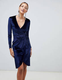 Boohoo velvet tie waist wrap midi dress in navy