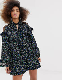 COLLUSION lace insert smock dress in ditsy floral