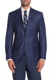 Ted Baker London Jay Navy Plaid Wool Trim Fit Suit