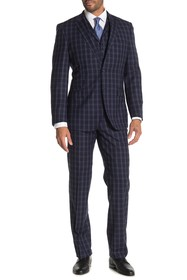 English Laundry Navy Plaid Two Button Notch Lapel
