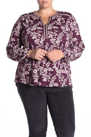 Lucky Brand Floral Split Neck Peasant Top (Plus Si
