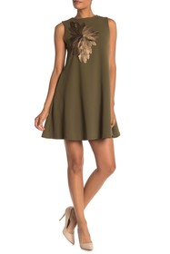 Gracia Faux Leather Floral Swing Dress