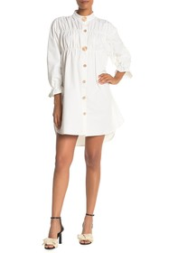 Gracia Pleated Button Down High/Low Dress