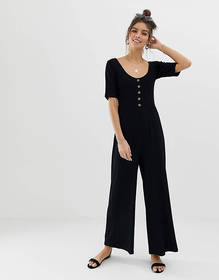 ASOS DESIGN short sleeve rib button front jumpsuit