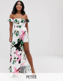 Parisian Petite off shoulder maxi dress in white f