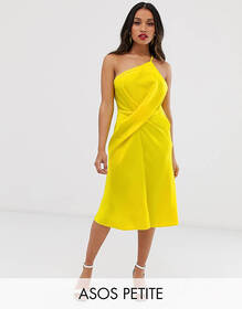 ASOS DESIGN Petite midi dress with one shoulder in