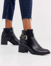 Truffle Collection kitten heel ankle boot in black