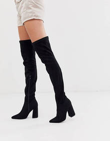 Truffle Collection pointed block heeled thigh boot