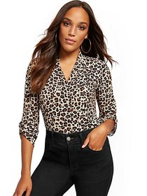 Leopard-Print Pleated V-Neck Blouse - New York & C