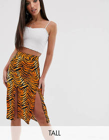 Influence Tall midi skirt in tiger print