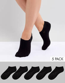 Monki 5 pack sneaker socks in black