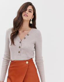 Vila button front ribbed sweater