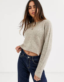 River Island cropped sweater in oatmeal