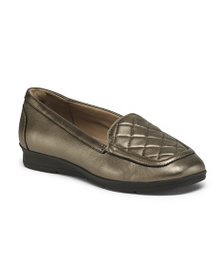 EASY SPIRIT Wide Comfort Quilted Leather Flats