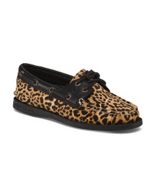 SPERRY Cheetah Print Leather Boat Shoes