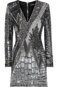 BALMAIN Bead-embellished sequined tulle mini dress
