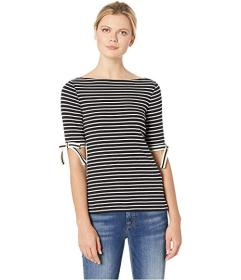 LAUREN Ralph Lauren Ribbon-Sleeve Striped Boat Nec