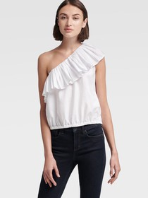 Donna Karan ONE-SHOULDER RUFFLE TOP