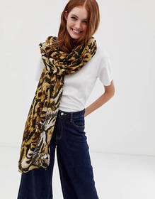 My Accessories London animal print scarf with tige