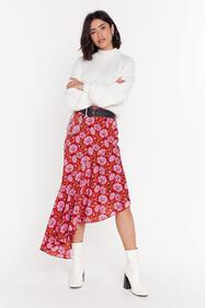 Nasty Gal Womens Red Staying Alive Floral Midi Ski