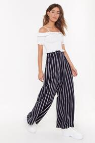 Nasty Gal Womens Navy Once Upon a Line Striped Wid