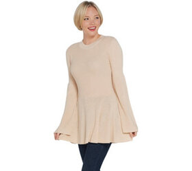 Laurie Felt Cashmere Blend Sweater with Bell Sleev