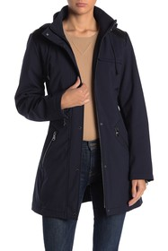Vince Camuto Removable Hood Belted Soft Shell Park