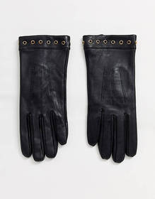 Barney's Originals real leather gloves with eyelet