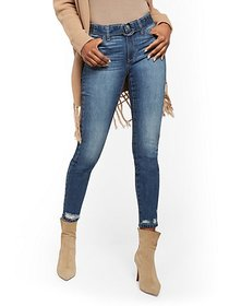 Belted High-Waisted Super Skinny Jeans - Medium Bl