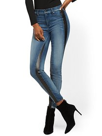 Faux-Leather Trim High-Waisted Super Skinny Jeans