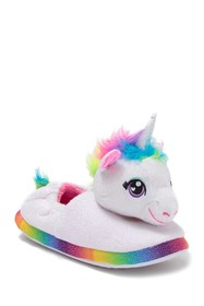ESQUIRE Faux Fur Trimmed Rainbow Unicorn Slipper (