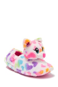 ESQUIRE Faux Fur Rainbow Heart Kitty Slipper (Litt