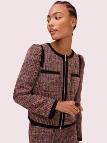 puff sleeve tweed jacket